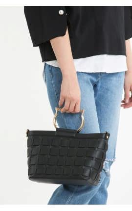 Сумка-корзинка с кошачьей ручкой черная