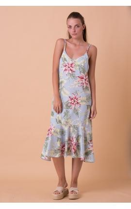 Платье-сарафан с тропическим принтом