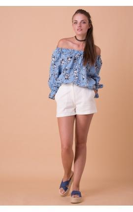 Блуза с рукавами-пуффами без плеч