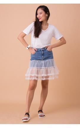 Юбка джинсовая с воланами из гипюра