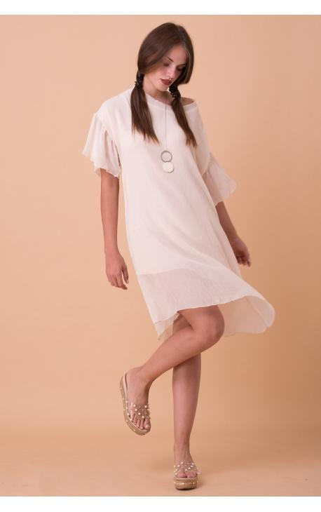 Платье-туника с воланами на рукавах