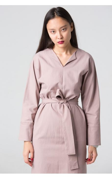 Платье-футляр с поясом однотонное