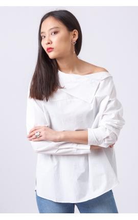 Блуза со спущенным рукавом в красную полоску
