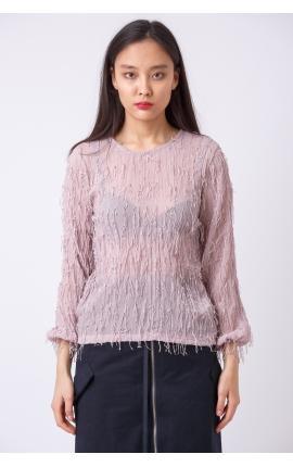 Блуза с бахромой розовая