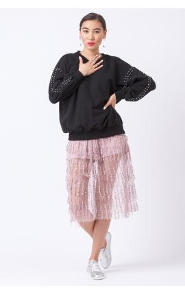 Юбка прозрачная с бахромой розовая