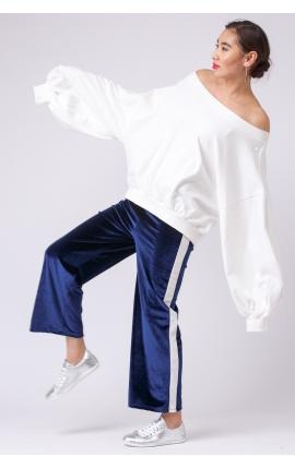 Бархатные брюки спорт-люкс с лампасами синие