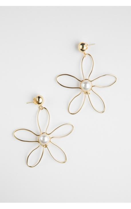Серьги-крупные цветы с жемчужиной