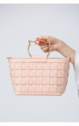 Сумка-корзинка с кошачьей ручкой розовая