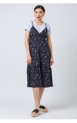 Платье-сарафан с воланом синее