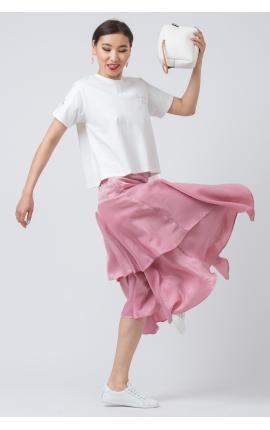 Юбка с асимметричными воланами розовая