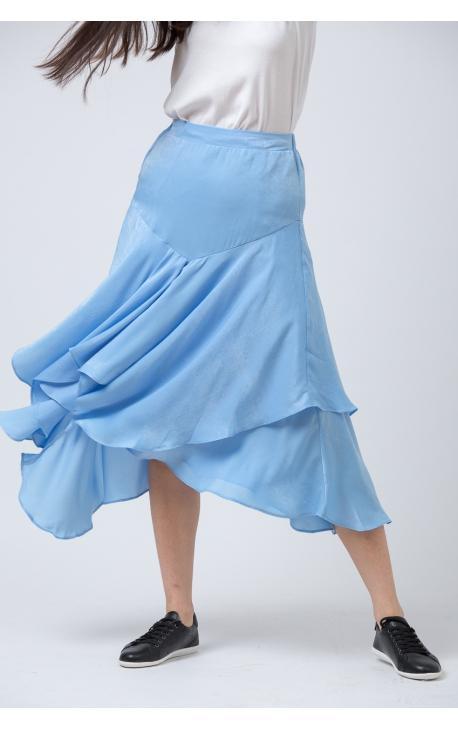 Юбка с асимметричными воланами голубая