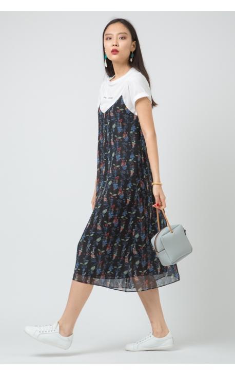 Платье-сарафан синее в крупный цветочек