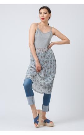 Платье-майка с плиссированной юбкой серо-голубое