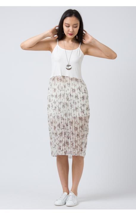 Платье-майка с плиссированной юбкой белое