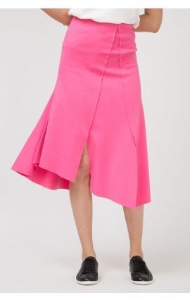 Юбка с асимметричными разрезами розовая