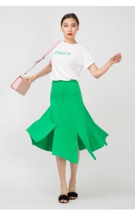 Юбка с асимметричными разрезами зеленая
