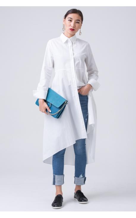 Платье-плащ асимметричной длины белое