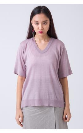 Свитер с коротким рукавом из тонкой шерсти розовый