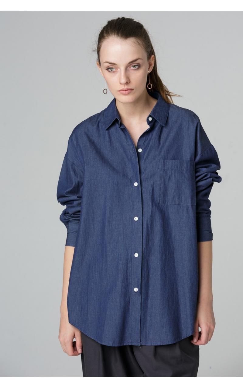 Рубашка джинсового цвета