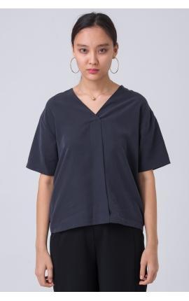 Блуза с V-вырезом и коротким рукавом синяя