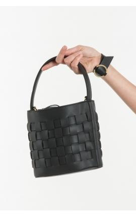 Сумка-корзинка круглая черная